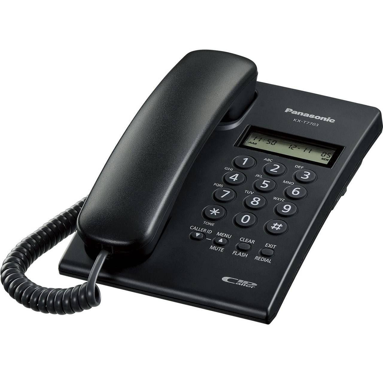 گوشی تلفن رومیزی پاناسونیک مدل Panasonic-KX-T7703X | مشکی